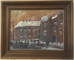 Bánfi festmény, olaj, karton, szignózott, keretes 33,5 cm X 40,5 cm