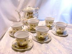 Egyedi, különleges gyártású, dúsan aranyozott, kézzel festett, ritka, hibátlan, porcelán teáskészlet