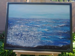 Lávaköves part Savai'in.Szinte semmi, és mégis hallod az Óceán hangját. 50x 75 cm-es kép