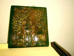 Kerámia fali kép Bűnbeesés  Ádám és Éva a paradicsomban