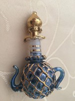 Régi dusan aranyozott parfümös üveg