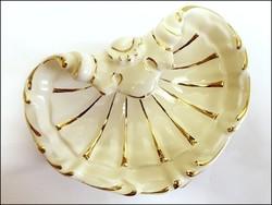 Zsolnay kagyló formájú ( nagy kagyló),porcelán, 18 karátos arannyal aranyozott  névjegykártya tartó