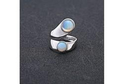 Kék opál, kétköves gyűrű, állítható 6-7-8-9-10 ÚJ!