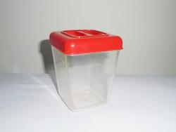 Retro műanyag sótartó fűszer tartó konyhai fedeles tároló doboz - 1960-1970-es évekből