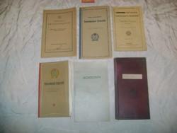 Régi tanulmányi értesítők, leckekönyv - hat darab - 1936/43/47/50/51/55