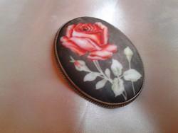 Antik ezüst bross,rózsa mintával.
