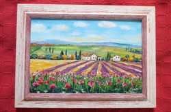 Provence-i levendulák új festmény képkerettel