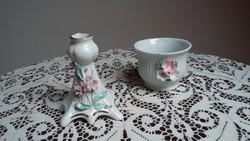 Régi Apulum porcelán gyertyatartó (pici szirom letörések) és hasonló ékszertartó v. kaspó