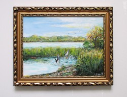 Vadász festmény - Vadkacsák a folyónál