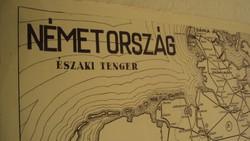 TÉRKÉPGYŰJTŐK ! Régi (1949) kézi grafikai térkép,nyomata papírra,NÉMETORSZÁGRÓL..