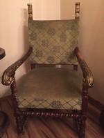 """1900-as évek elejéről nagy méretű fotel, """"trónszék""""."""