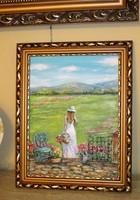 Virágos délután-új festmény képkerettel