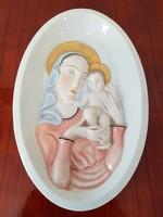 Ritka Herendi porcelán, 1941-es Szűz Mária a Kis Jézussal falikép, szignált.