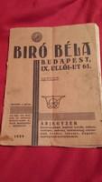 Biró Béla Árjegyzék - 1929