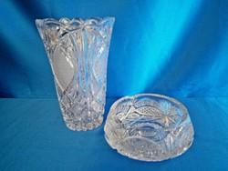 Gyönyörű metszett kristály váza és hamu tartó hamutál, több, mint 2 kg!