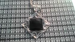"""Izraeli ezüst nyaklánc (nyakék) és medál onixxal """"Shablool Didae"""""""