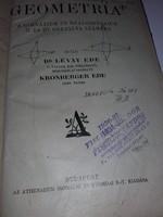 1930-as évekből antik tankönyv - GEOMETRIA A gimnáziumok és reálgimnázium II.és III.osztálya számára
