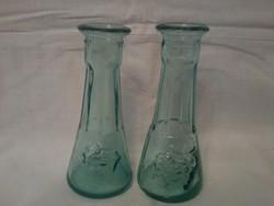 2 db kis váza, vastag üveg