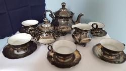 Antik Barokk Bavaria Feinsilber ezüstözött porcelán teáskészlet: csésze, kiöntő, cukortartó