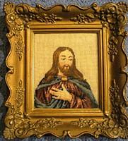 Régi Krisztust ábrázoló tűgobelin, aranyozott blondel keretben