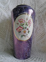 Hollóházi irizáló elegáns nagy öblös váza, hibátlan 25 cm
