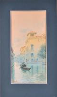 Pietro Toretti (1888-1927): Velencei gondola, akvarell