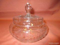 Antik üveg bonbonier, cukortartó