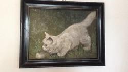 Eladó a képen látható cicás festmény