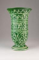 0L977 Zöld Gorka kerámia váza 18 cm