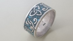 Ezüst massziv, széles gyönyörű 925- ös ezüst gyűrű türkizzel berakással