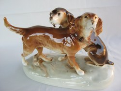 Royal Dux porcelán kutya pár