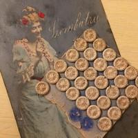 Antik gombok,eredeti tartójukon, kézimunka 31db