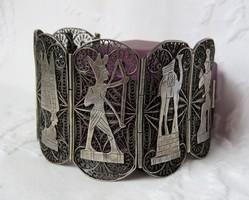 Meseszép antik egyiptomi kézműves ezüst karperec - 63,35 gr