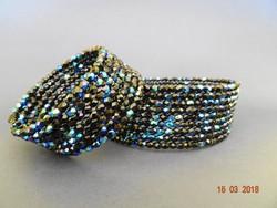 Gyönyörú csiszolt üveggyöngy nyakpánt és karkötő a kék minden árnyalatában csillog