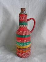 Régi retro, dróttal fonott szép kis üveg demizson palack 19,5 cm