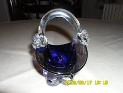 Kobaltkék  gyönyörű üvegkosárka