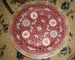 Antik kínai kézi festett- plasztikus minta- tányér