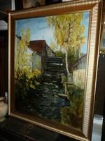 Gróf Vay J.Zsigmond nagyon nagy méretű gyönyörű antik olaj festménye eladó 112*92 cm
