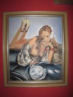 Pin Up Girl olaj festmény