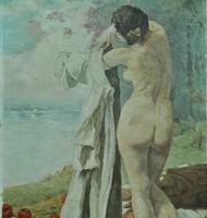 Ismeretlen festő: Akt vízparton , 1900 k.