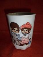 Zsolnay porcelán mese csésze 2 monchichi-vel