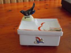 Antik ritka madaras hamutál bonbonier doboz