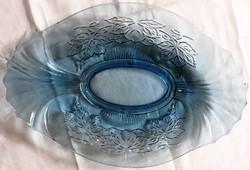 Gyönyörű kék vastag üveg asztalközép kínáló tál