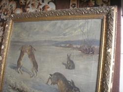 N11 Vadnyulak antik olaj vászon  79.5 X 66 cm a párharc,és a vihar is kezdődik az égen