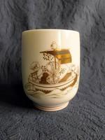 Gyönyörű, jelzett ázsiai porcelán pohár - bögre arany festéssel, hibátlan
