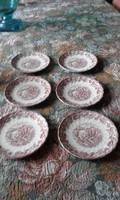 6 db angol rózsaszin kistányér