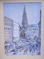 Richard Walter (1903.-?): Bécsi utcakép, akvarell