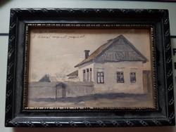 Juszkó Béla 1906 vidám akvarell képe!