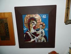 HÚSVÉTI AKCIÓ !!! Béni Mária tűzzománc kép  Szűz Mária Jézussal