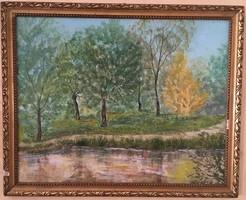 Folyópart Simon Zoltán jelzett (olaj) 91 festmény 54,5 x 44 cm kerettel